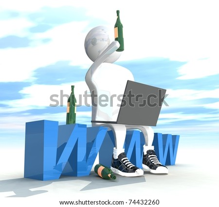 isolated three-dimensional programmer sitting on the letter with some beer - stock photo