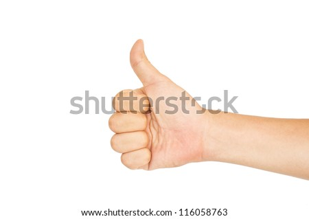 isolated thumbs up male hand on white, for praise or like hand gestures. - stock photo