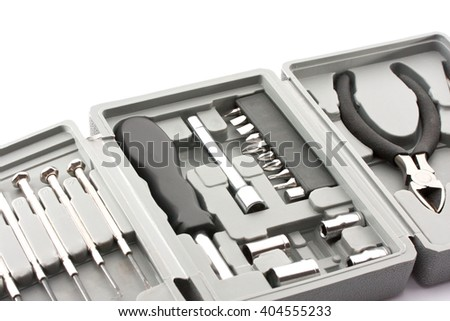 isolated toolbox (black and white) - stock photo
