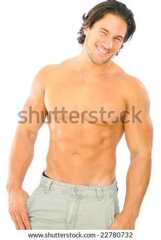 isolated topless caucasian man give a wink to viewer - stock photo