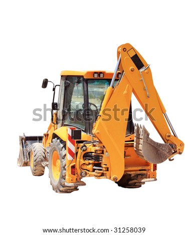 isolated tractor - stock photo