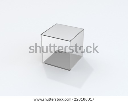 Isolated transparent glass cube with shadow over white - stock photo
