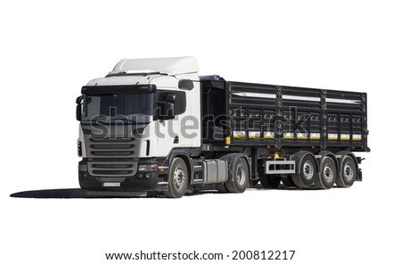 Isolated truck with shadow on white backround - stock photo