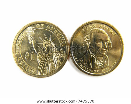 Isolated United States 2007 One Dollar Coins Macro Close-up - stock photo