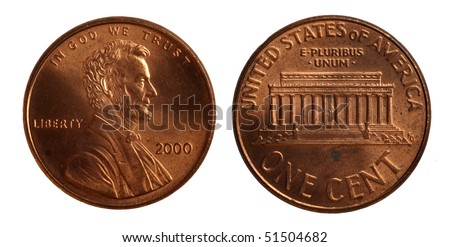 Isolated US penny - stock photo