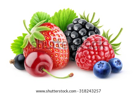 Isolated various summer berries.Strawberry, cherry, raspberry, blackberry, blueberry and black currant over white background with clipping path - stock photo