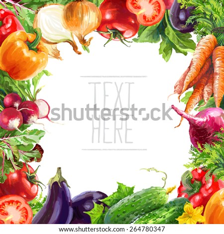 isolated vegetable composition illustration - stock photo