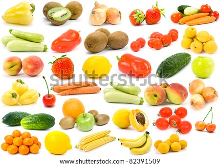 isolated vegetables and fruit on a white background - stock photo