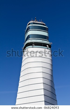 Isolated Vienna airport tower on a sunny day - stock photo