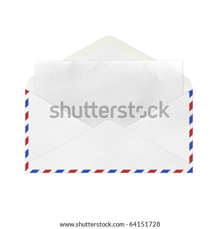 isolated Vintage Envelope with blank paper on white. - stock photo
