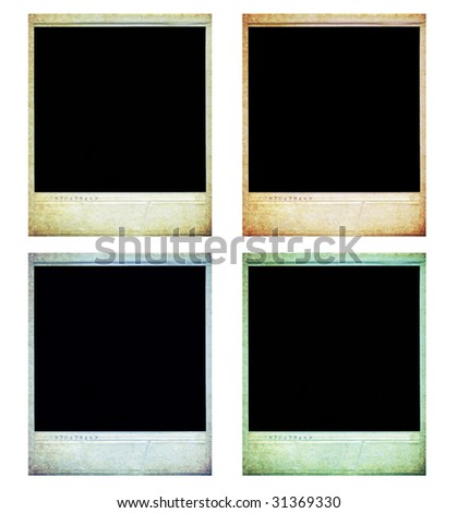 isolated vintage instant photos on white background - stock photo