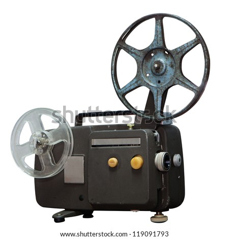 isolated: Vintage movie projector with clipping path - stock photo
