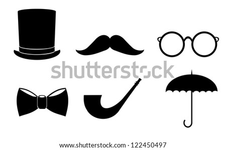 Isolated vintage, retro, fashionable gentleman icon set on white background. - stock photo