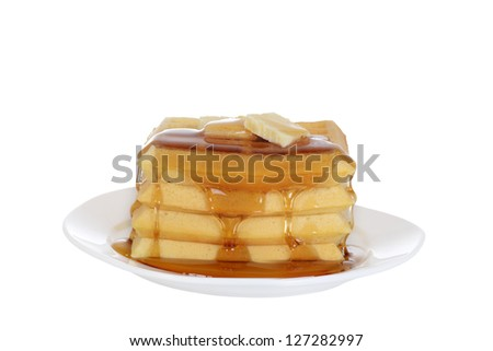 Isolated Waffles with butter and syrup - stock photo