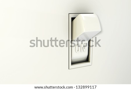 Isolated wall light switch in the On position - stock photo