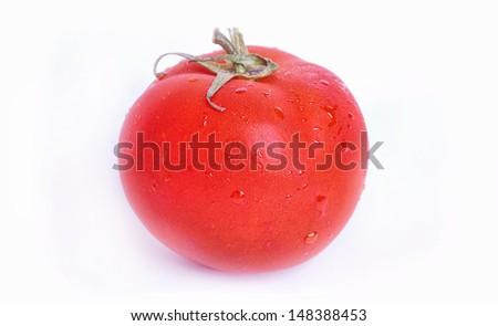 isolated wet and fresh tomato on white background - stock photo