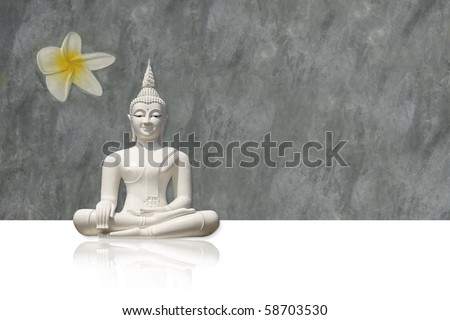 Isolated white buddha against grunge, grey background (incl. clipping path) - stock photo