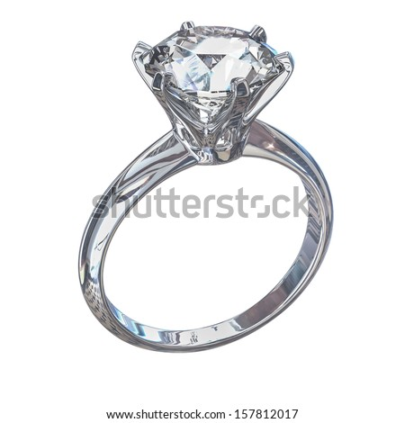 Isolated white diamond ring - stock photo