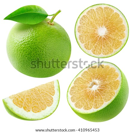 Isolated white grapefruits. Whole and cut fruits collection isolated on white background with clipping path - stock photo