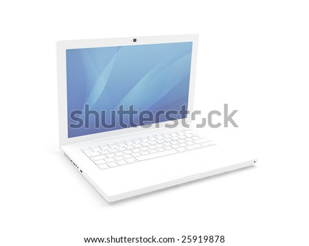 Isolated white laptop - stock photo