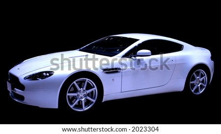 Isolated white sports car on a black background. For editorial use. - stock photo