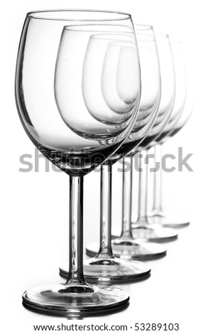 Isolated wine glasses on white - stock photo