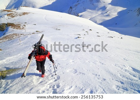 Isolated woman carrying a pair of skies while ascending a steep mountain - stock photo