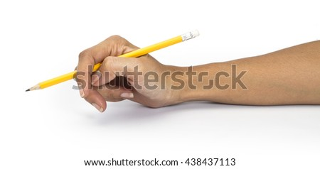 isolated woman hand holding a yellow pencil and something draws or writes - stock photo