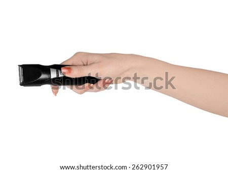 Isolated woman hand holding electric shaver - stock photo
