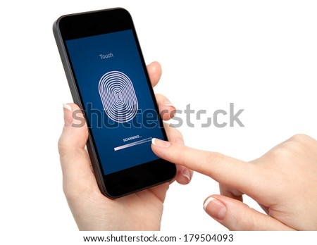 isolated woman hand holding the phone and entering the PIN code of fingerprint  - stock photo