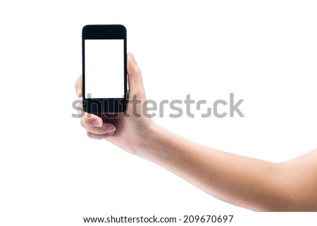 isolated woman hand holding the phone tablet touch computer gadget on white background - stock photo