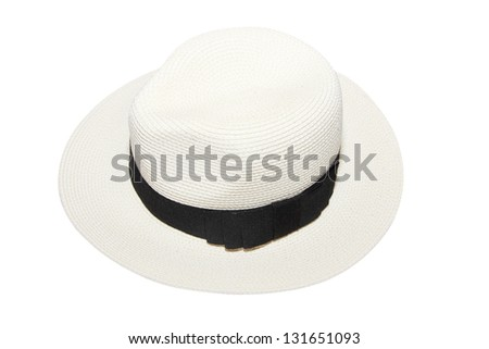 isolated woman white beach hat - stock photo
