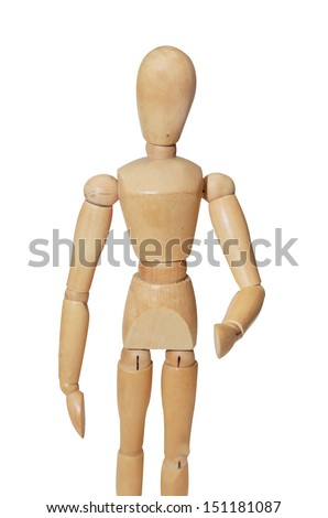 isolated wooden mannequin in shake hand position - stock photo