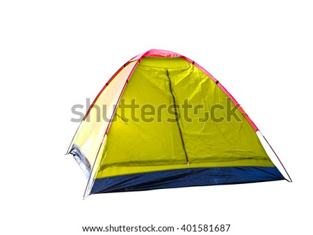 Isolated yellow dome tent on white with clipping path - stock photo