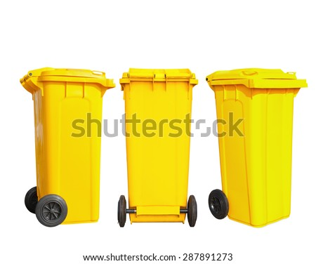 Isolated yellow garbage bin with clipping path - stock photo