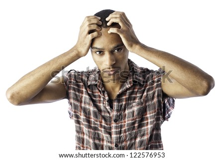 Isolated young african american black male with an expression for either pain, sorrow, headache, thinking or sadness. - stock photo