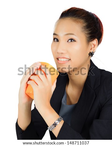 Isolated Young Asian Business Woman on White - stock photo
