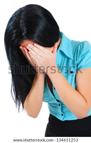 Isolated young business girl cry - stock photo