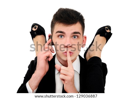 Isolated young business man with girl with feet up - stock photo