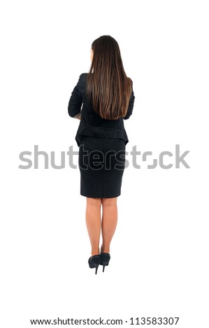 Isolated young business woman back view - stock photo
