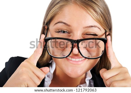Isolated young business woman blink eye - stock photo