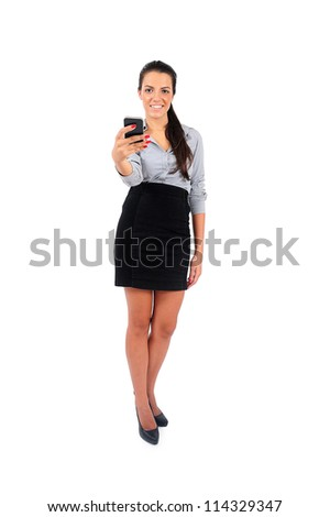 Isolated young business woman giving phone - stock photo