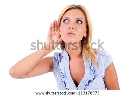 Isolated Young Business Woman Listening - stock photo