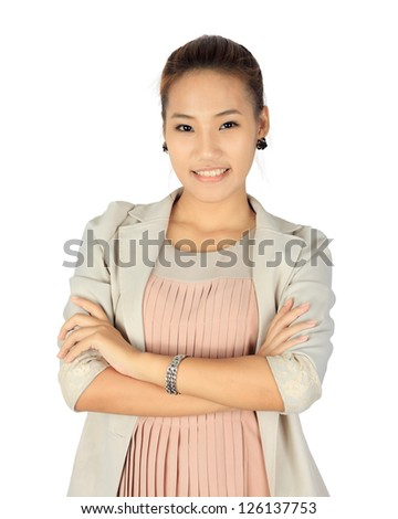 Isolated young business woman over white - stock photo