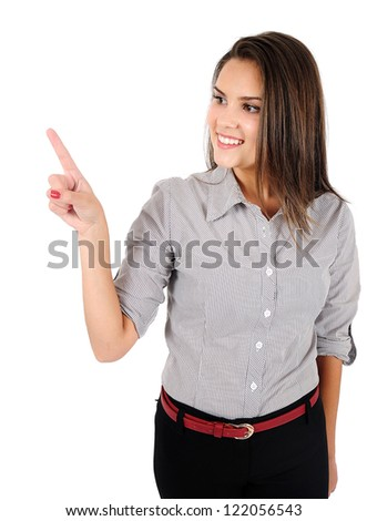 Isolated young business woman pointing - stock photo