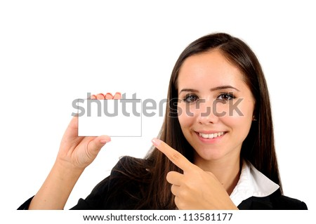 Isolated young business woman presenting card - stock photo