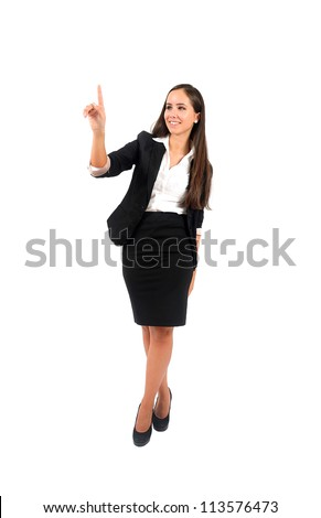 Isolated young business woman push something - stock photo