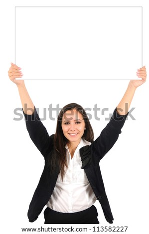 Isolated young business woman showing something - stock photo