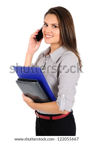 Isolated young business woman speaking phone - stock photo