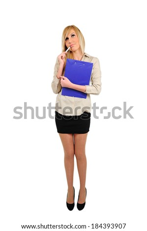 Isolated young business woman thinking with clipboard - stock photo